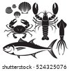 seafood silhouette set. lobster ...