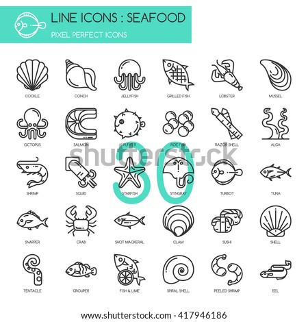 Seafood  , Thin Line and Pixel Perfect Icons - stock vector