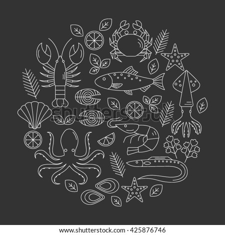 Seafood vector flat line icons set,  lobster, crab, salmon, fish, squid, oyster, shrimp, octopus, eel  isolated.