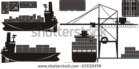 Seafreight cargo vector illustration set - stock vector