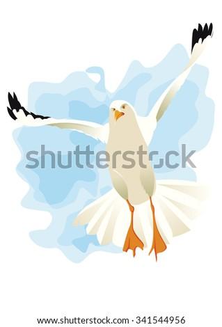 seagull flying like an angel - stock vector