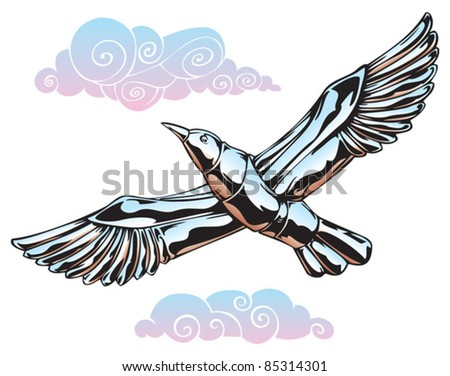 Seagull made of steel, flying among the clouds, vector illustration - stock vector