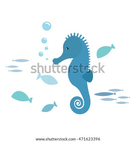 Seahorse and fishes, isolated on white background. Kiddy style illustration. Vector.