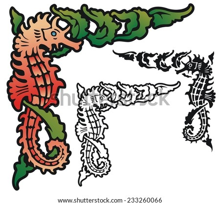 Seahorse and seaweed corner ornament - stock vector