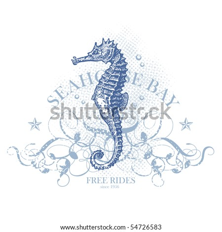 seahorse bay - retro summer design element with seahorse (grunge is removable) - stock vector
