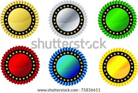 Seal and rosette ribbon set, vector