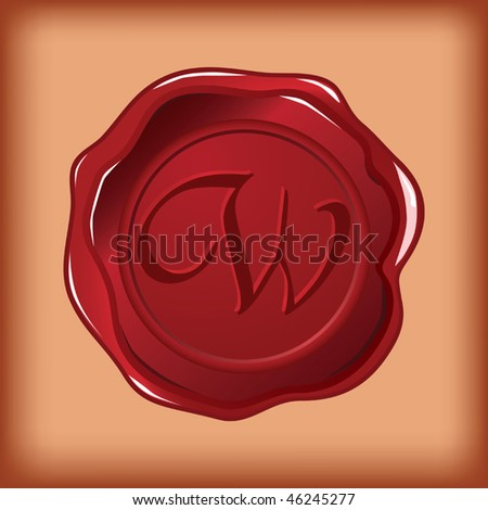seal wax monogram of letter W - stock vector