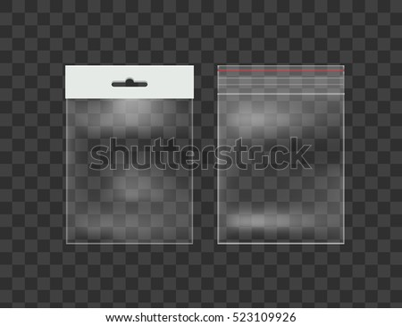 Sealed Empty Transparent Plastic Pocket Bags with Hang Slot. Vector objects Isolated on Background