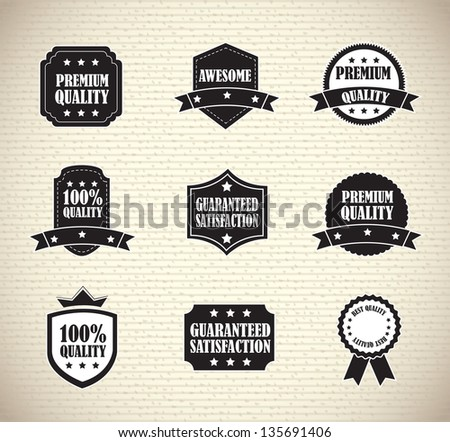 seals of quality and guarantee over vintage background - stock vector