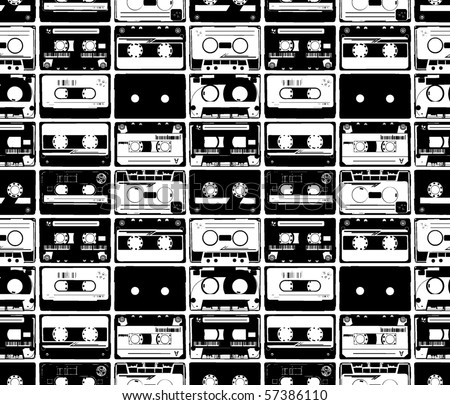 seamles from old retro audio tapes - stock vector