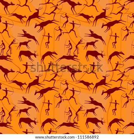seamless a background cave figures of primitive people in a vector - stock vector