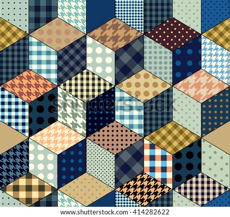Seamless abstract background in patchwork style and imitation of a cubes - stock vector