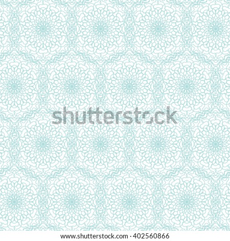 Seamless abstract background pattern with blue guilloche ornament on white (transparent) background. Vector illustration eps - stock vector