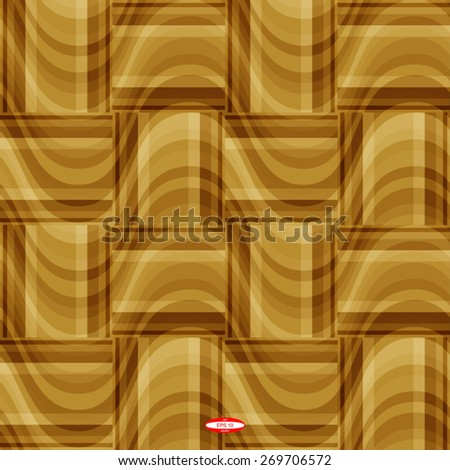 seamless abstract beige pattern golden texture with brown rectangle with cream line on  sand wicker background. vector illustration - stock vector