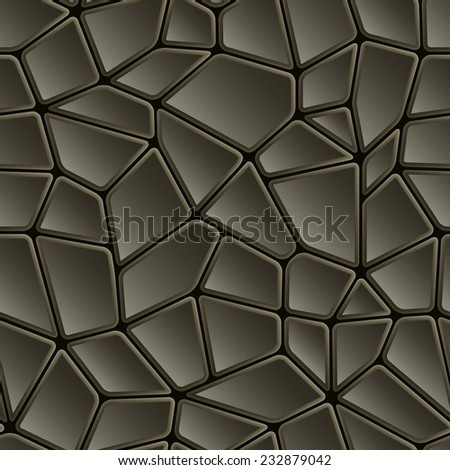 Seamless abstract black texture facing mosaic pattern or tiles - stock vector