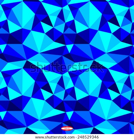 seamless abstract blue pattern navy texture abstract cyan line on blue background with triangle vector - stock vector