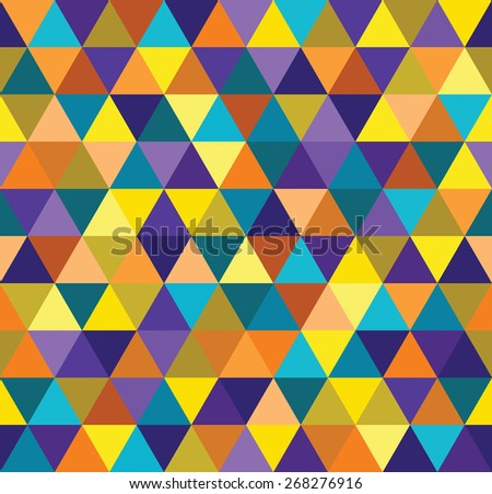 Seamless abstract colorful triangle geometrical background. Endless pattern. - stock vector
