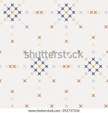 Seamless abstract cross-stitch embroidery pattern on white background