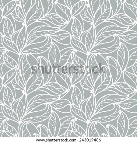 seamless  abstract  floral   background with leaves - stock vector