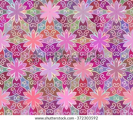 Seamless abstract floral interesting pink pattern. Can be used for wallpaper, pattern fills, greeting cards, webpage backgrounds, wrapping paper or fabric. Vector illustration. EPS 10. - stock vector