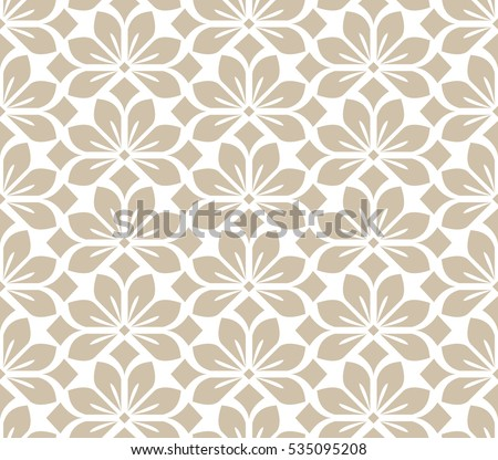 Seamless Abstract Floral Pattern Beige White Stock Vector