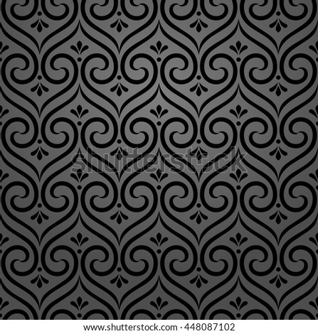 Seamless abstract floral pattern. Black and white vector background. Ornament for wrapping, wallpaper, tiles - stock vector