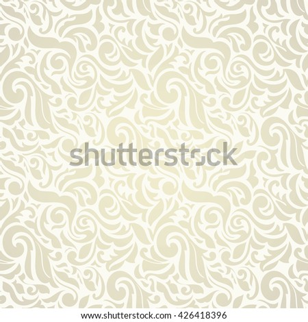 Seamless abstract floral pattern in light Golden Color. Wallpaper in the style of Baroque - stock vector
