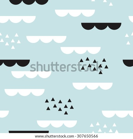 Seamless abstract geometric clouds Scandinavian style illustration graphic background pattern in vector - stock vector
