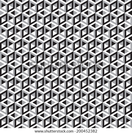 Seamless Abstract Geometric Cubes Optical Illusion Pattern. Black and White. - stock vector