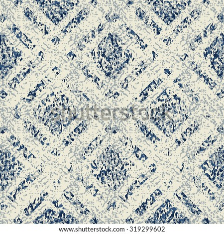 seamless abstract geometric pattern on blue mottled background - stock vector