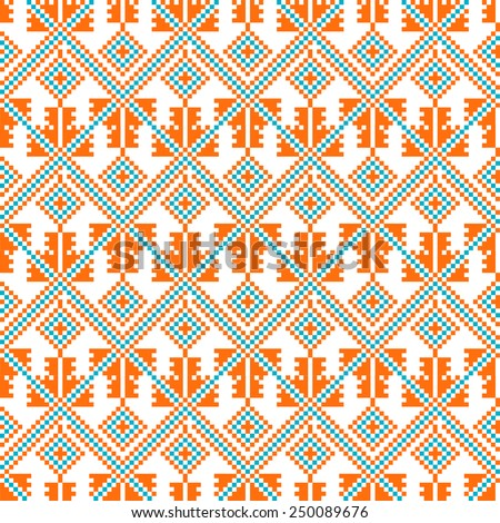Seamless abstract geometric pattern. Traditional Ukrainian embroidery. Hipster background. Pixel art. - stock vector