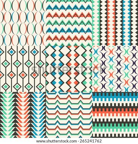 seamless abstract geometric pattern wallpaper set - stock vector