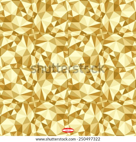 seamless abstract golden pattern sand texture abstract brown line on beige background with tetrahedron vector - stock vector
