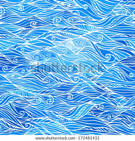 Seamless Abstract Hand Drawn Blue Pattern. Vector Wave Background