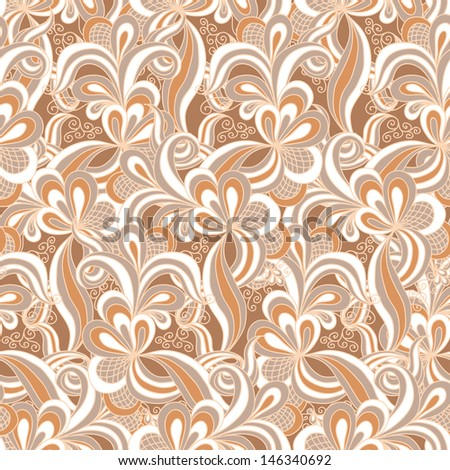Seamless abstract hand drawn pattern in beige colors - stock vector