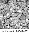 Seamless abstract hand-drawn pattern, waves background in blue looks like water. - stock photo