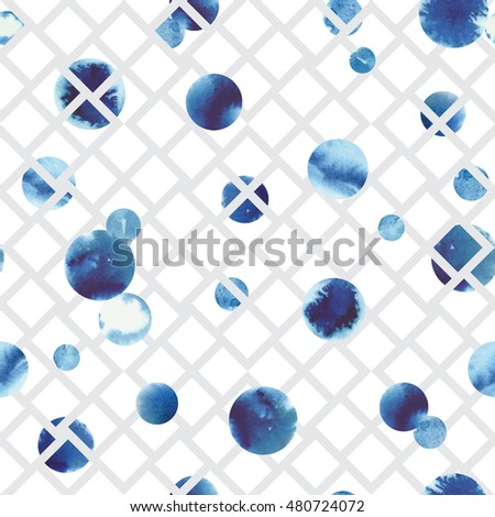 Seamless abstract hand drawn spot pattern with blue watercolor circles. Vector illustration