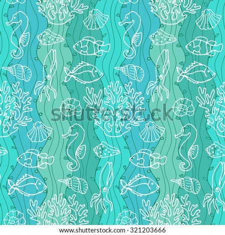 Seamless Abstract Hand Drawn Wave Pattern. Ocean. Vector illustration for wallpapers, textile prints, backgrounds