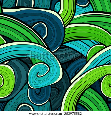 Seamless abstract hand drawn waves pattern. Wavy background. Ocean background. Background design in vivid colours. Vintage design. Seamless floral pattern can be used for web, wallpaper - stock vector