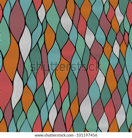 Seamless abstract hand-drawn waves pattern, wavy background. Seamless pattern can be used for wallpaper, pattern fills, web page background,surface textures. Gorgeous seamless wave background - stock vector