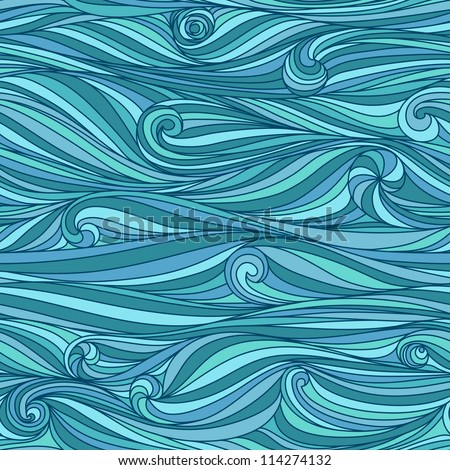 Seamless abstract hand-drawn waves pattern, wavy background. Seamless pattern can be used for wallpaper, pattern fills, web page background,surface textures. Gorgeous seamless nature background - stock vector