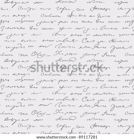 Seamless abstract handwritten text pattern - stock vector