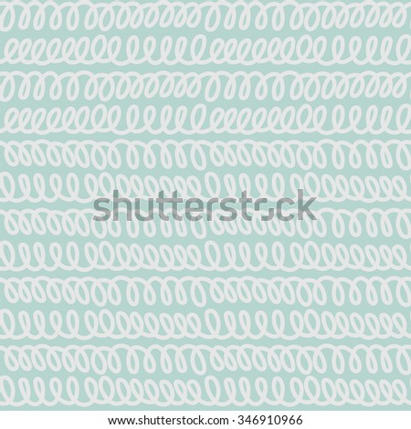 Seamless abstract nautical pattern with hand drawn doodle lines, loops and stripes. Vector illustration. Brush lines and borders set. - stock vector