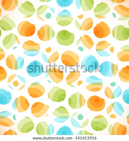 Seamless abstract original pattern with circles. Dotted creative multicolor background - stock vector