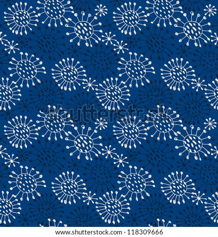 Seamless abstract pattern. Endless decorative lace texture with circles and dots. Snowflakes - stock vector