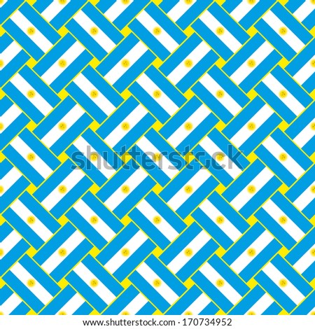 Seamless abstract pattern made with Argentina flag - stock vector