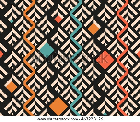 Seamless abstract pattern of geometric shapes.Geometric background with stripes, squares, rhombuses.