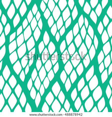 Seamless abstract pattern with colorful rhombuses. Vector illustration with leaves. Reptiles skin texture.