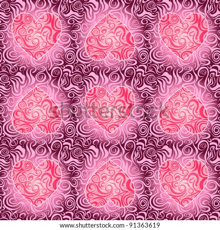 Seamless abstract pattern with heart silhouette. Vector