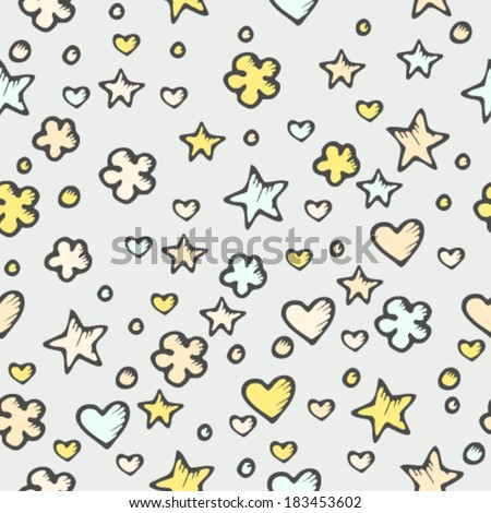 Seamless abstract pattern with stars and hearts - stock vector